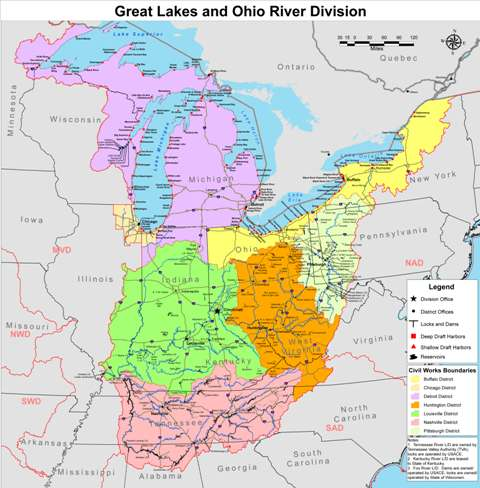 Great Lakes And Ohio River Division About - Ohio river map